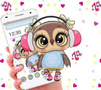 Cute Owl Cartoon Love theme 🦉 screenshot 4