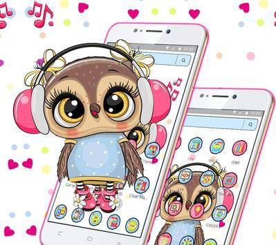 Cute Owl Cartoon Love theme 🦉 screenshot 6