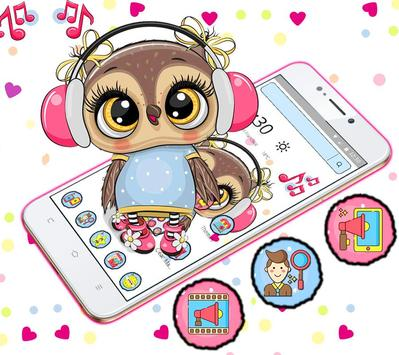 Cute Owl Cartoon Love theme 🦉 screenshot 7
