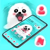 Cute White Lovely Puppy Theme 🐶 icon