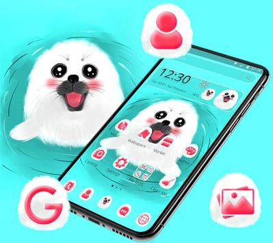 Cute White Lovely Puppy Theme 🐶 poster
