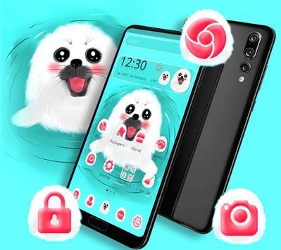 Cute White Lovely Puppy Theme 🐶 screenshot 1