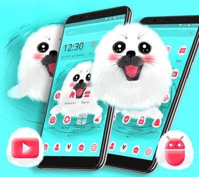 Cute White Lovely Puppy Theme 🐶 screenshot 2