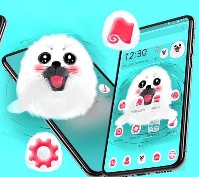 Cute White Lovely Puppy Theme 🐶 screenshot 3