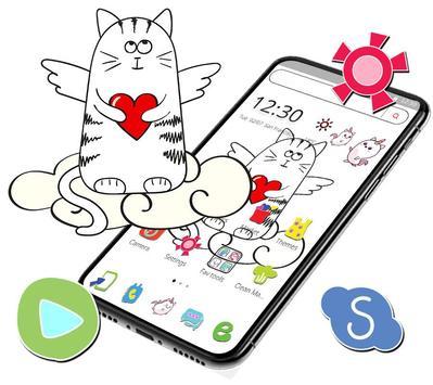 Cute Sketch Cartoon Cat Theme poster