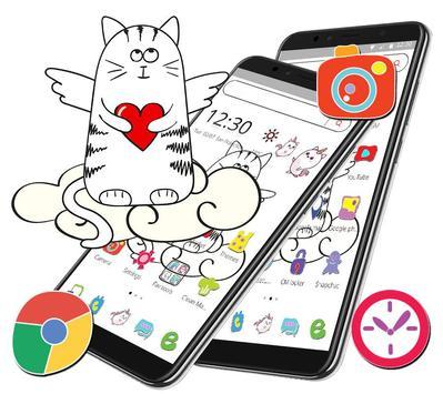 Cute Sketch Cartoon Cat Theme screenshot 6