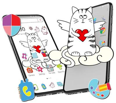Cute Sketch Cartoon Cat Theme screenshot 7