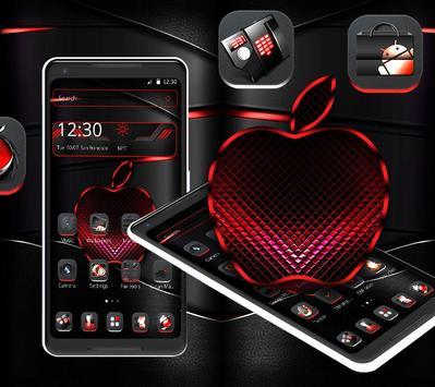 Red Black Apple Dark Launcher Theme 🍎 screenshot 1