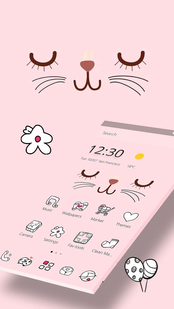Pink Cute Cartoon Kitty Face Theme For Android Apk Download