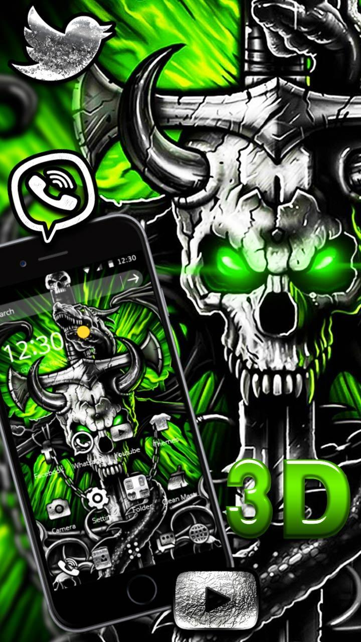 3D Gothic Metal Skull Live Wallpaper Theme For Android APK