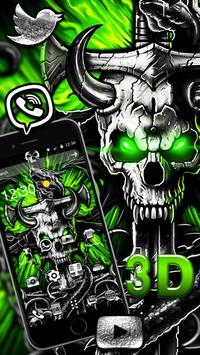 3D Gothic Metal Skull Live Wallpaper Theme