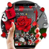 3D Crimson Rose Dew Gravity Theme simgesi