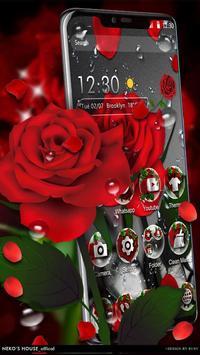 3D Crimson Rose Dew Gravity Theme captura de pantalla 1