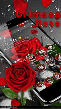 3D Crimson Rose Dew Gravity Theme captura de pantalla 2