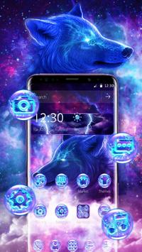 3D Live Galaxy Wild Wolf Thunder Theme poster