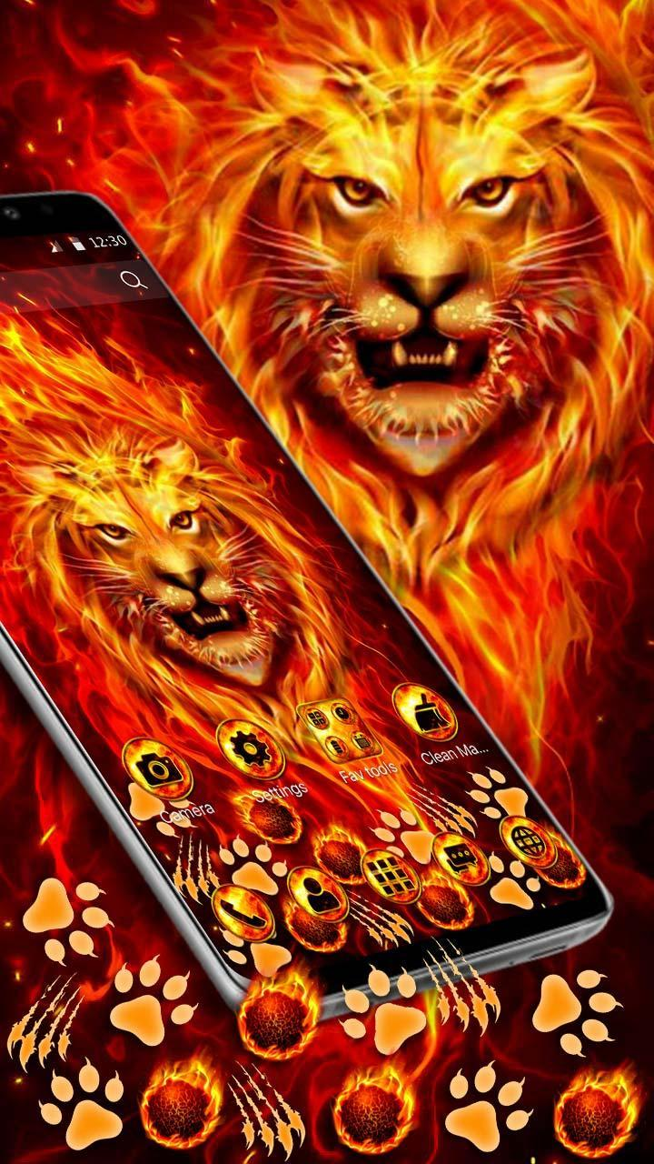 Burning Fire Lion Gravity Theme For Android APK Download