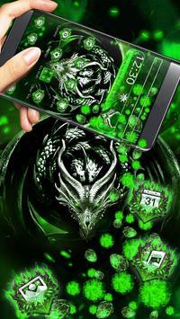 3D Green Metal Dragon Gravity Theme screenshot 2