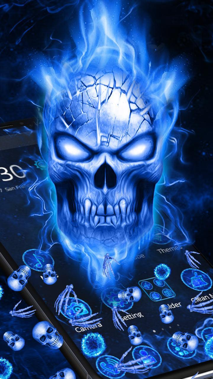 Blue Flaming Skull Gravity Theme For Android Apk Download