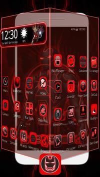 3D Red Iron Superhero Theme🤖 screenshot 1