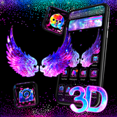 Cool Black Neon 3D Wings Theme icon