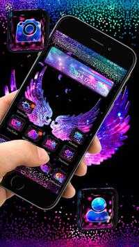 Cool Black Neon 3D Wings Theme poster