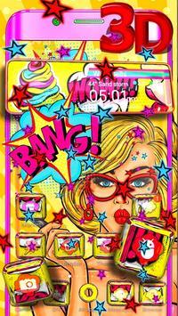 Pop Art Girl 3D Theme screenshot 3