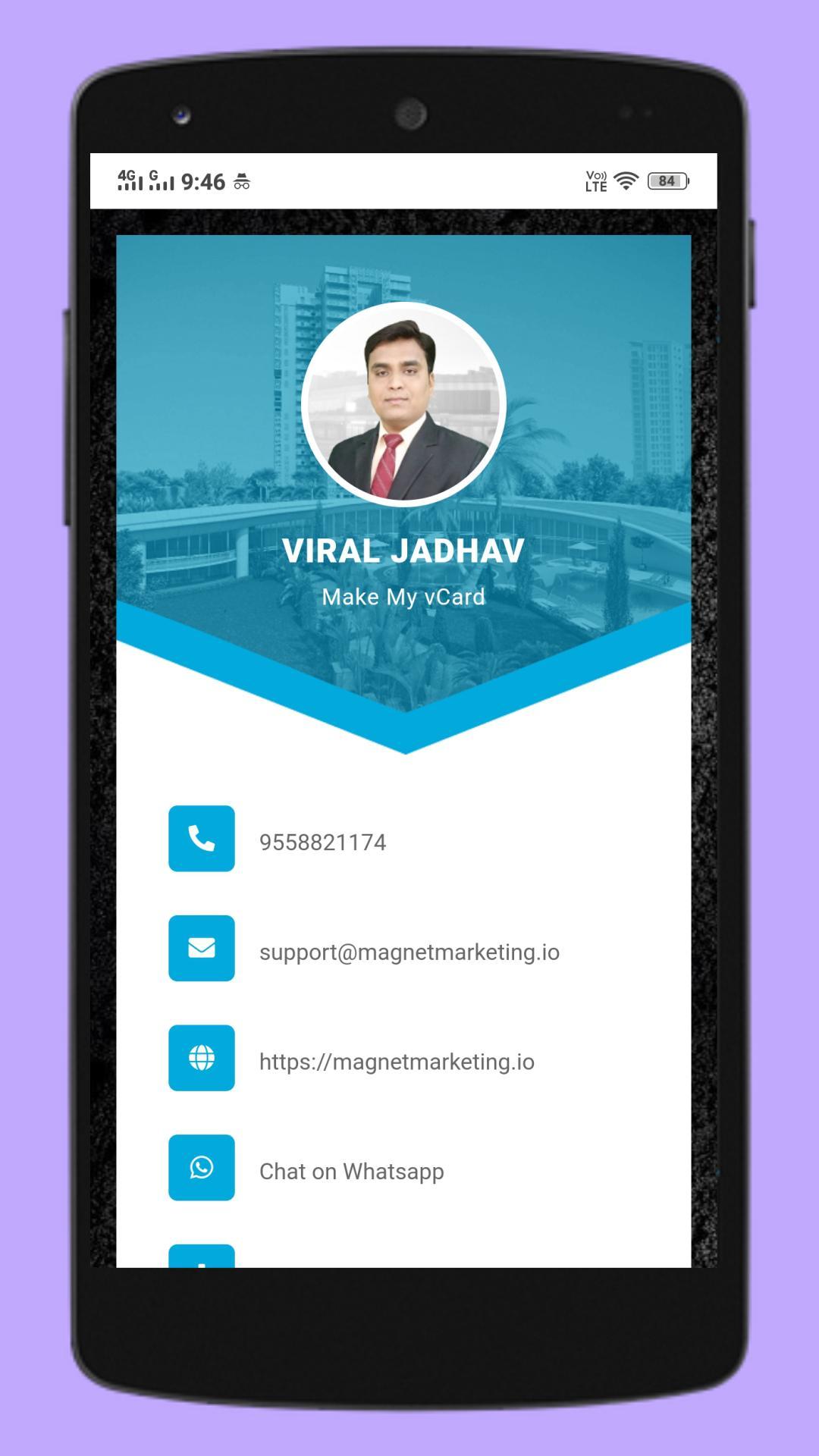 digital business card maker appmake my vcard for