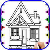 Learn to draw houses icon