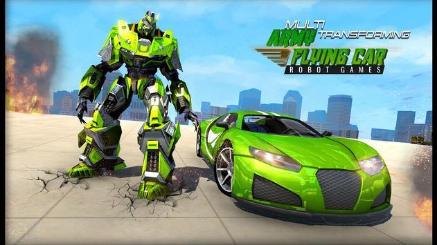 Flying Army Car Transform Robot Shooting Game poster