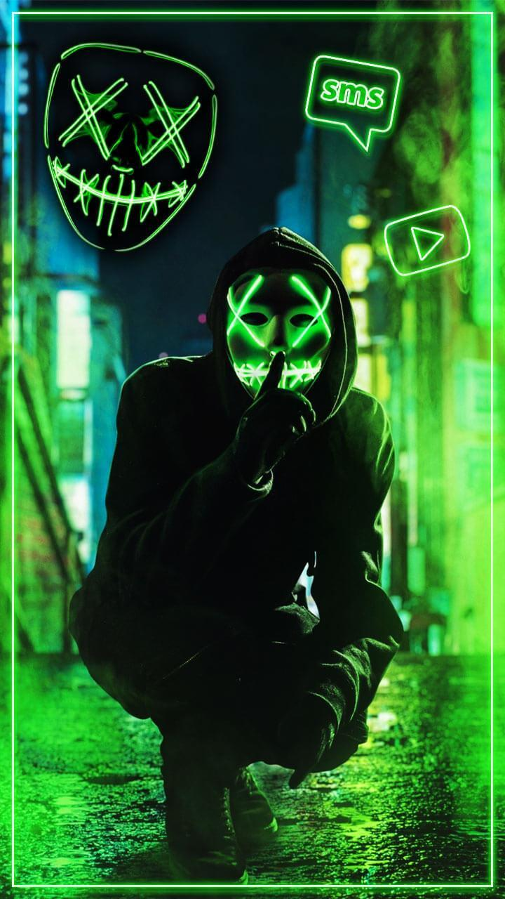 Neon Mask Cool Man Theme Live Wallpaper For Android Apk