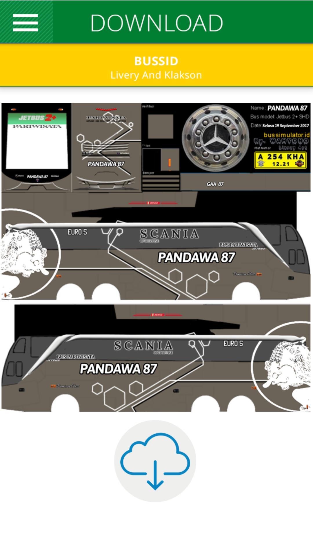 Livery Bus Shd Pandawa 87