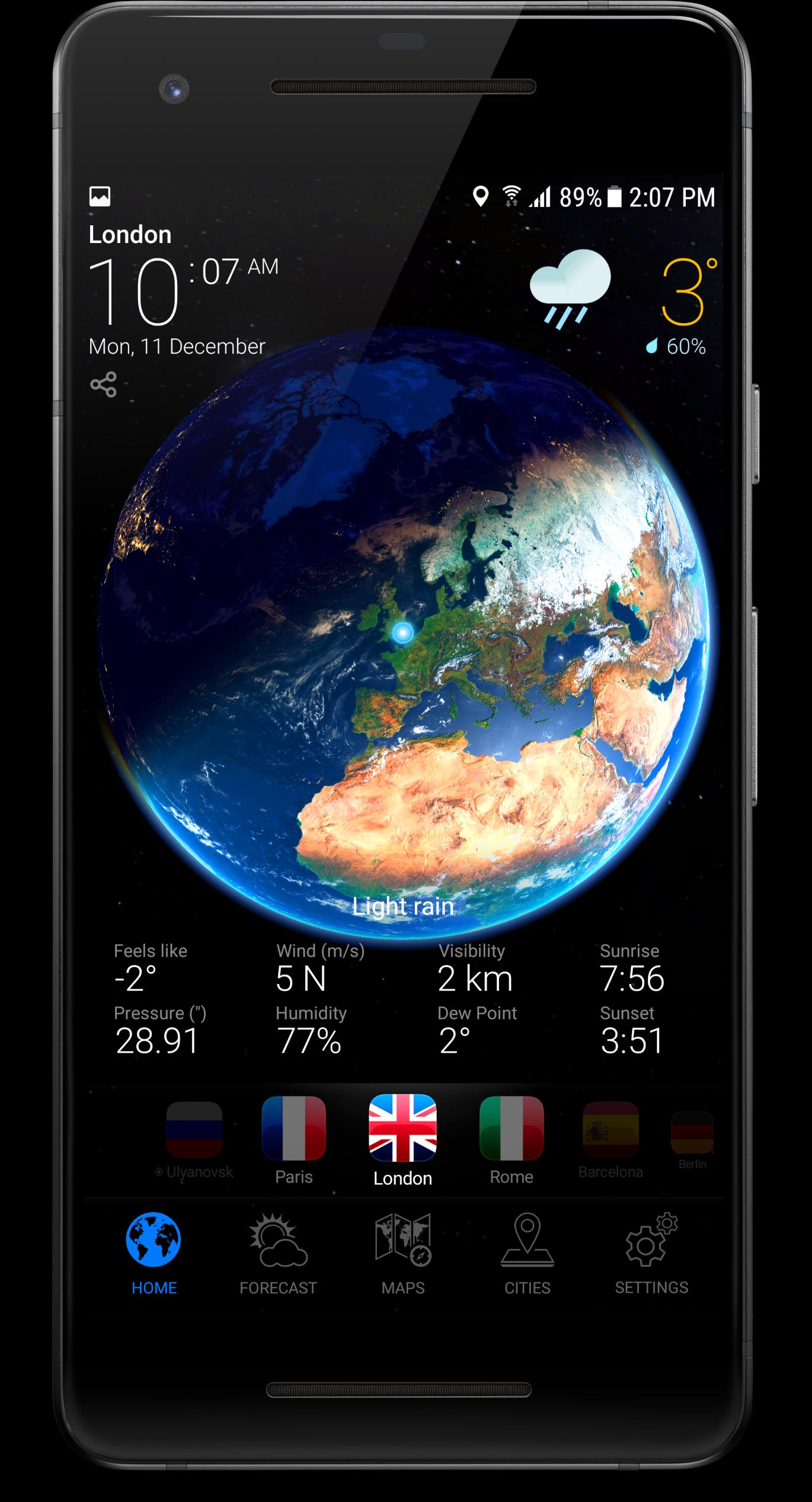 20D EARTH PRO   local weather forecast & rain radar for Android ...