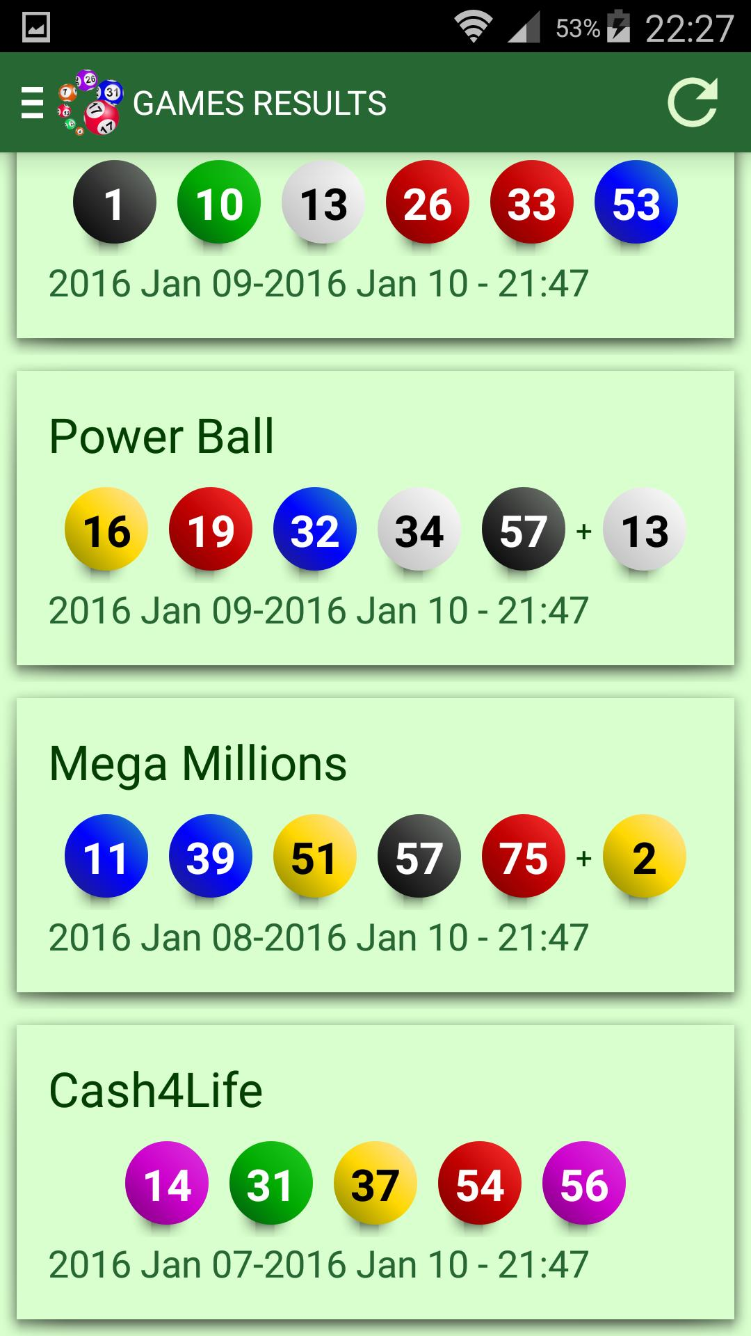 Powerball lottery results and statistics for Android - APK