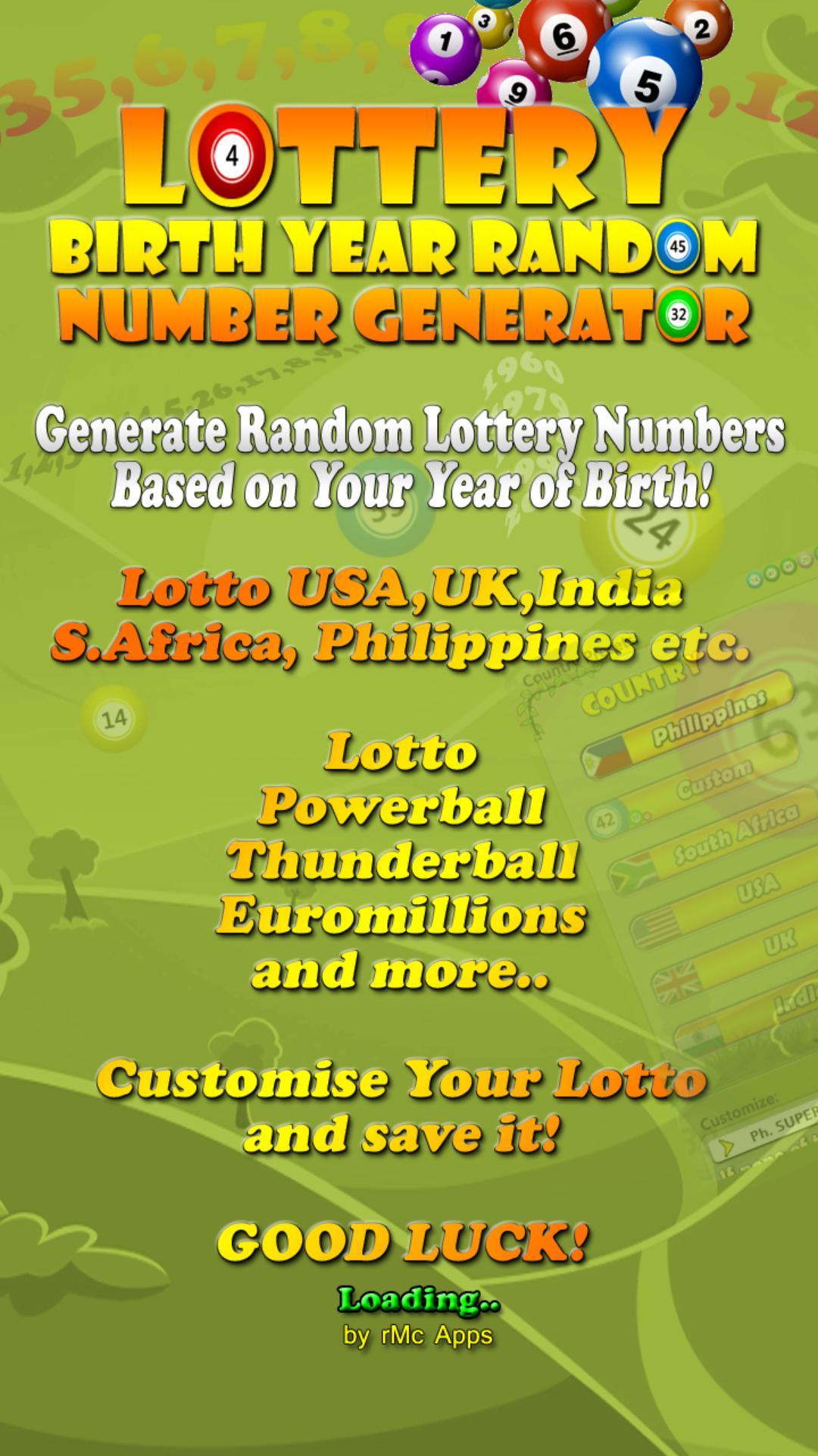 Lottery Random Number Generator para Android - APK Baixar