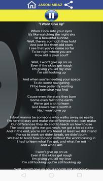 I Won't Give Up - Lyrics screenshot 1