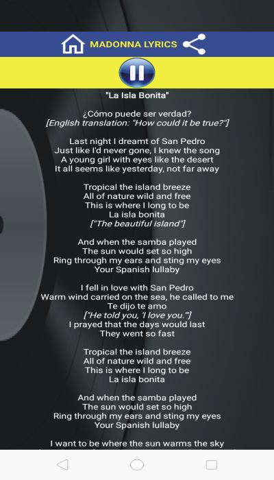 Madonna La Isla Bonita Lyrics Translation