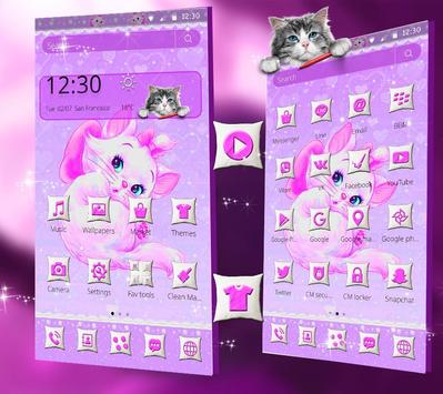 Purple Cute Cat Theme screenshot 4