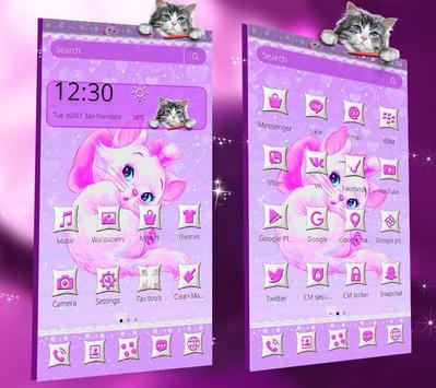 Purple Cute Cat Theme screenshot 6