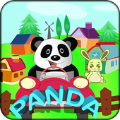 Panda animal zoo transporter bus icon