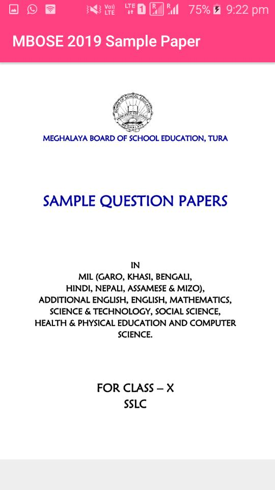 MBOSE SAMPLE PAPER 2019 CLASS 10 for Android - APK Download