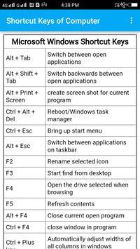 Shortcut Keys of Computer poster