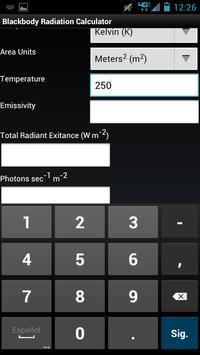 Blackbody Radiation Calculator screenshot 1