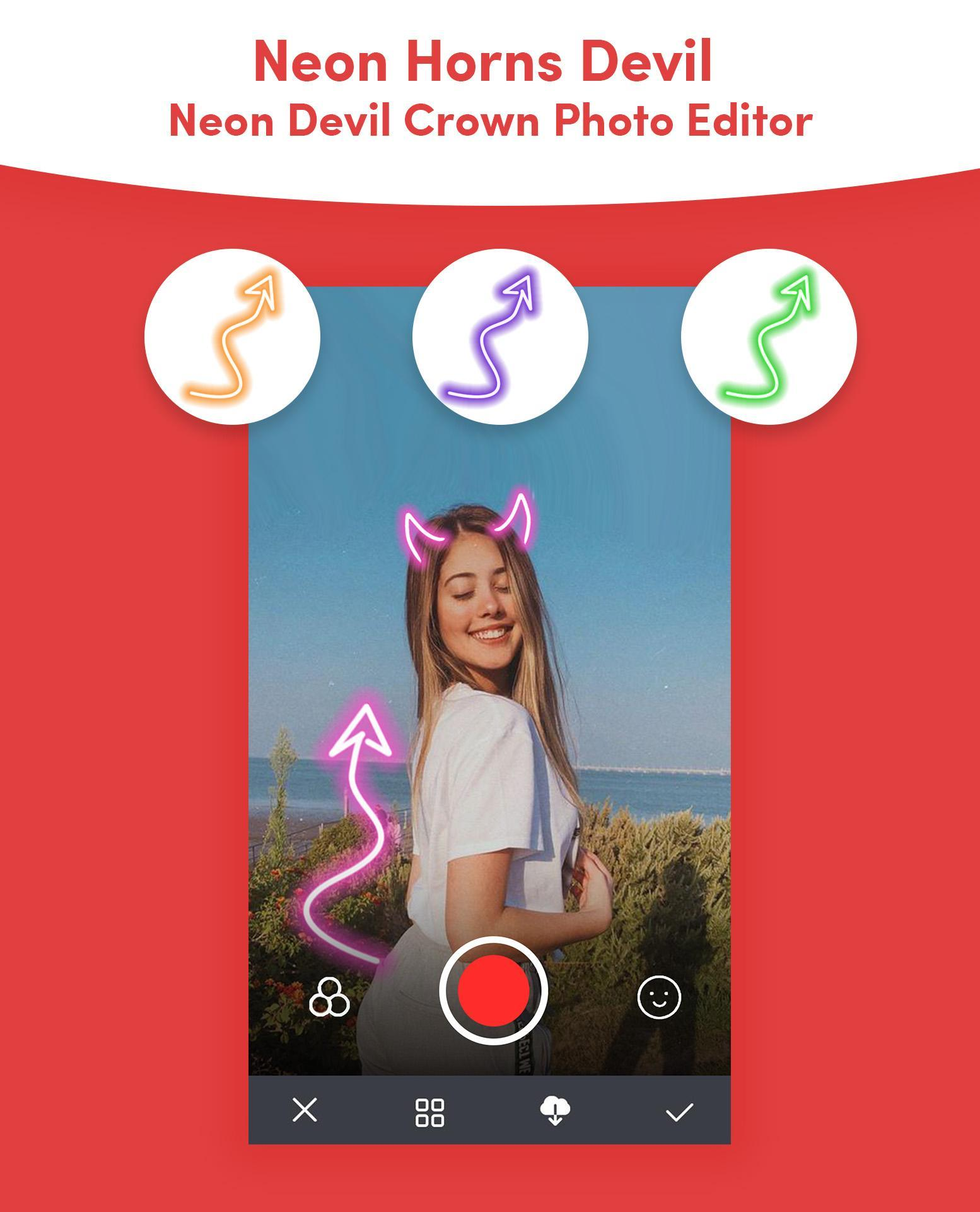 Neon Horns Devil Neon Devil Crown Photo Editor For Android Apk Download