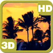Tropical Sunset Palm Beach Silhouette icon