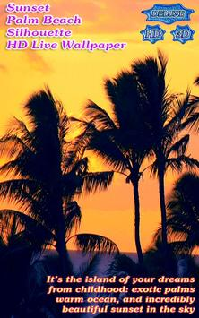 Tropical Sunset Palm Beach Silhouette poster