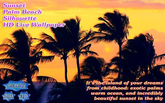 Tropical Sunset Palm Beach Silhouette screenshot 2