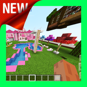 New Pink Mansion for Girls. Free MCPE map 2019 icon