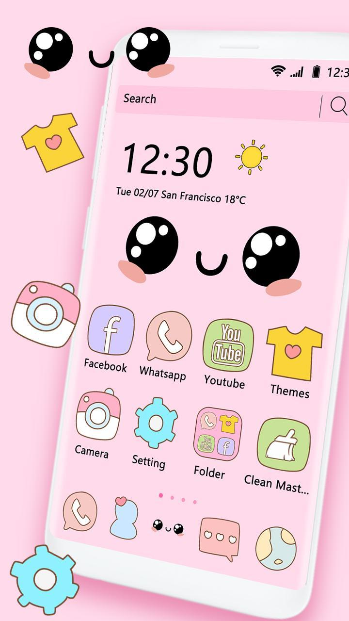 Pink Cartoon Cute Ordinary Theme For Android APK Download