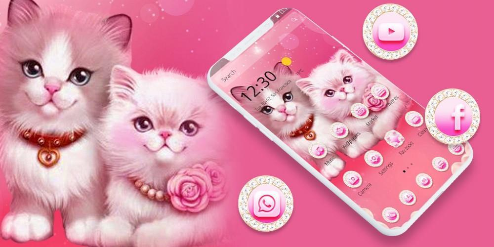 Pink Cute Cat Couple Theme For Android Apk Download