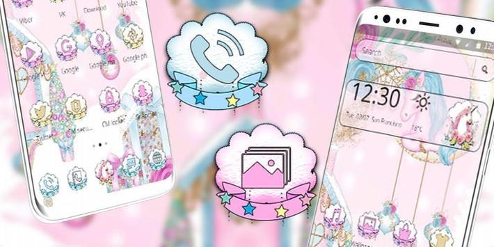 Pink Cute Lovely Unicorn Theme screenshot 3